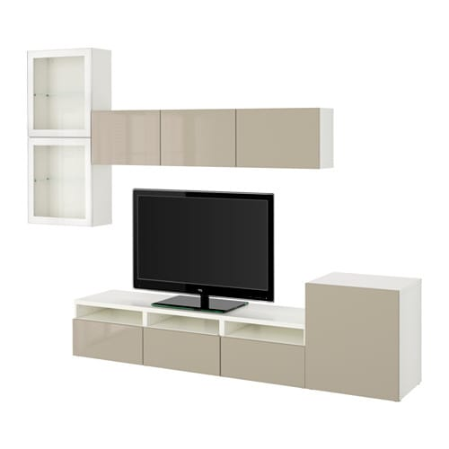 best combinaison rangt tv vitrines blanc selsviken brillant beige verre transparent. Black Bedroom Furniture Sets. Home Design Ideas