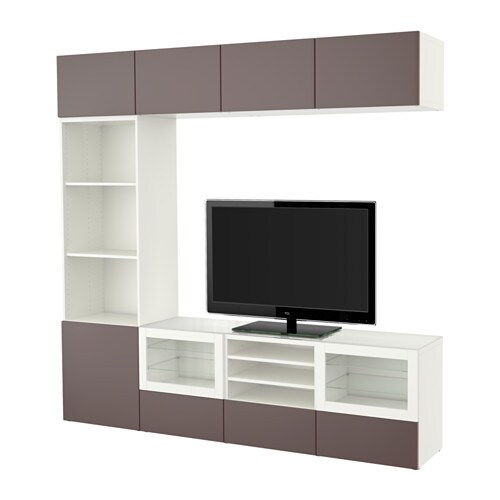 best combinaison rangt tv vitrines blanc valviken brun fonc verre transparent glissi re. Black Bedroom Furniture Sets. Home Design Ideas