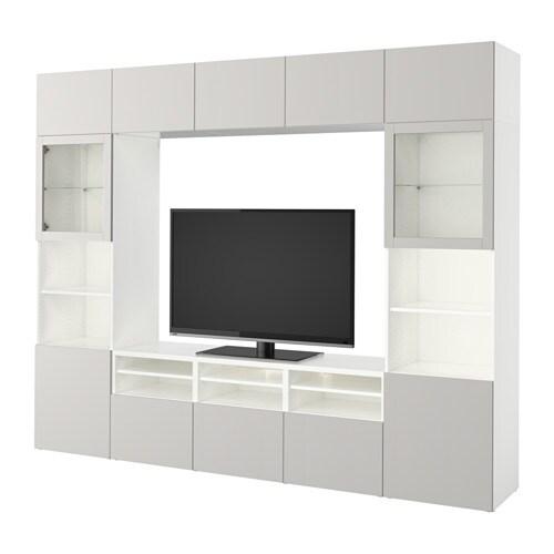 best combinaison rangt tv vitrines blanc lappviken gris clair verre transparent glissi re. Black Bedroom Furniture Sets. Home Design Ideas