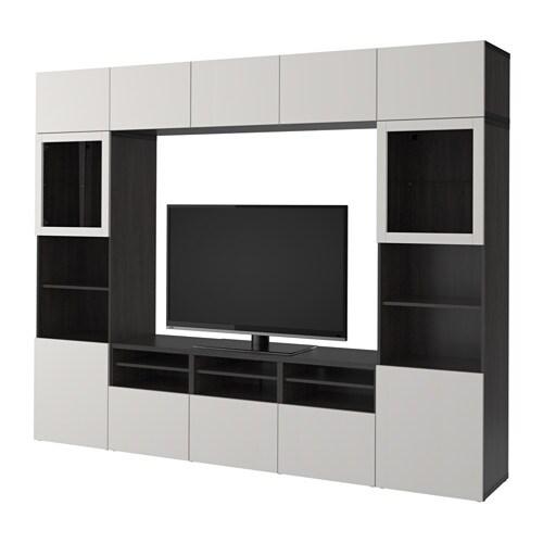 best combinaison rangt tv vitrines brun noir lappviken gris clair verre transparent. Black Bedroom Furniture Sets. Home Design Ideas