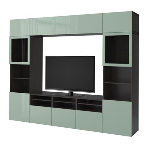 best combinaison rangt tv vitrines brun noir selsviken brillant gris vert clair verre. Black Bedroom Furniture Sets. Home Design Ideas