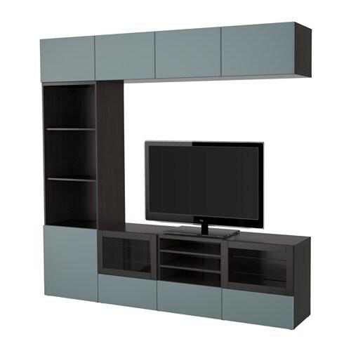 best combinaison rangt tv vitrines brun noir valviken gris turquoise verre transparent. Black Bedroom Furniture Sets. Home Design Ideas