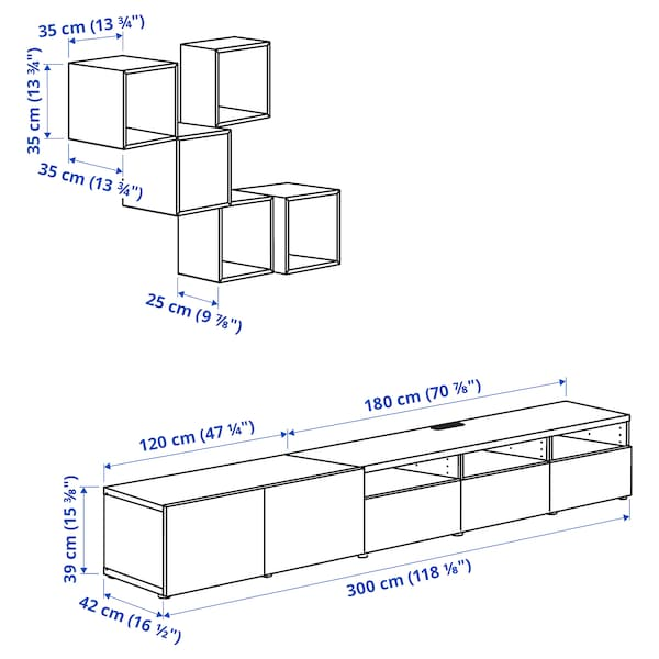 BESTÅ / EKET Combinaison rangement TV, blanc/effet chêne blanchi, 300x42x210 cm