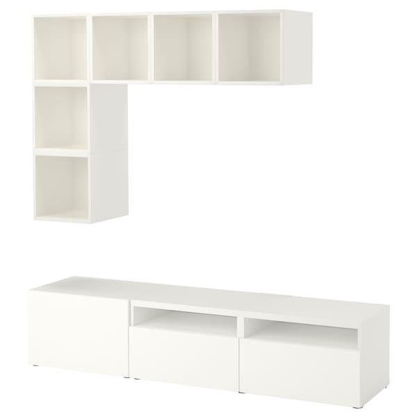 BESTÅ / EKET Combinaison rangement TV, blanc, 180x40x170 cm
