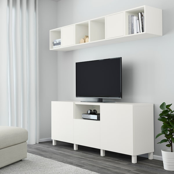 BESTÅ / EKET Combinaison rangement TV, blanc, 210x40x220 cm