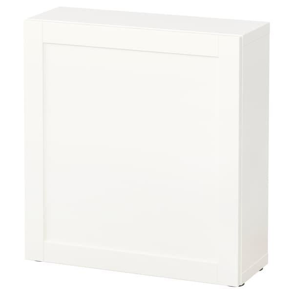 BESTÅ Étagère avec porte, blanc/Hanviken blanc, 60x22x64 cm