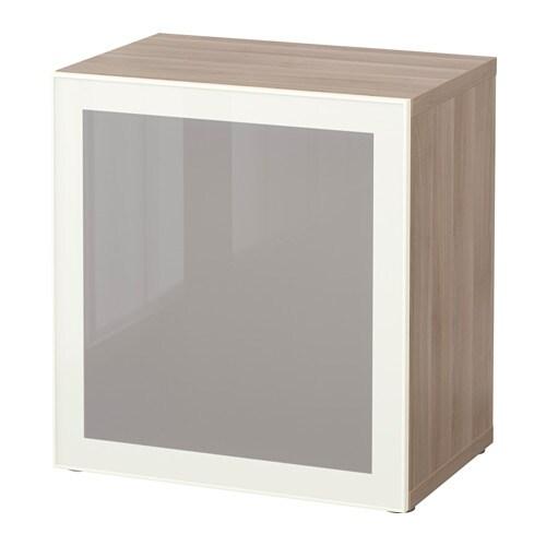 best tag re avec porte vitr e motif noyer teint gris glassvik blanc verre givr ikea. Black Bedroom Furniture Sets. Home Design Ideas