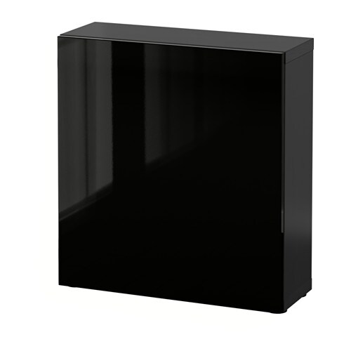 best tag re avec porte brun noir selsviken brillant noir ikea. Black Bedroom Furniture Sets. Home Design Ideas
