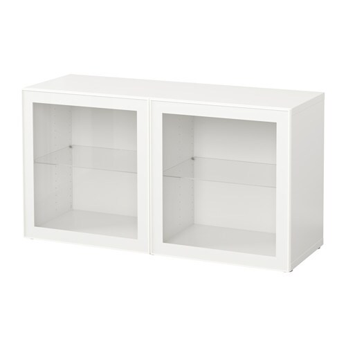 best tag re avec portes vitr es blanc glassvik blanc verre transparent ikea. Black Bedroom Furniture Sets. Home Design Ideas