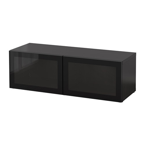 best tag re avec portes vitr es brun noir glassvik. Black Bedroom Furniture Sets. Home Design Ideas