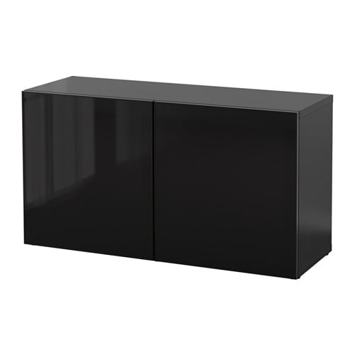 best tag re avec portes vitr es brun noir glassvik noir verre fum ikea. Black Bedroom Furniture Sets. Home Design Ideas