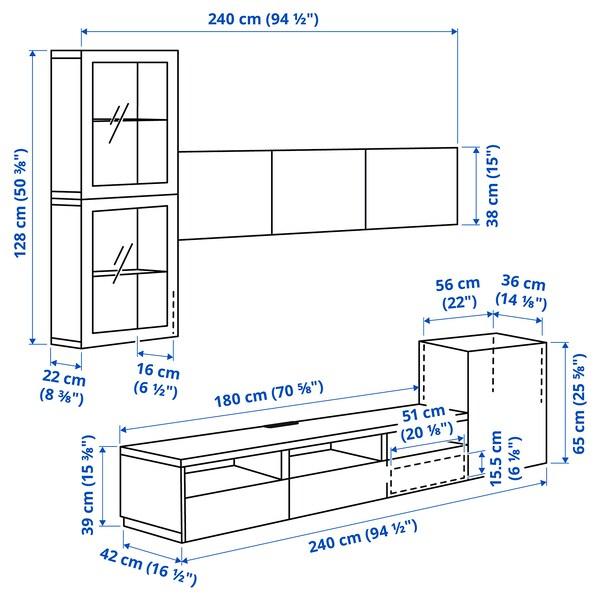 BESTÅ Rangement TV/vitrines, blanc Glassvik/Bergsviken noir, 300x42x211 cm