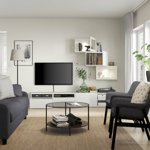 BESTÅ Rangement TV/vitrines, blanc/Lappviken blanc verre transparent, 240x42x190 cm