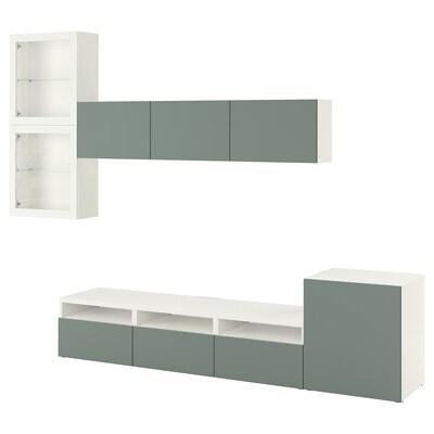 BESTÅ Rangement TV/vitrines, blanc/Notviken gris-vert verre transparent, 300x42x211 cm
