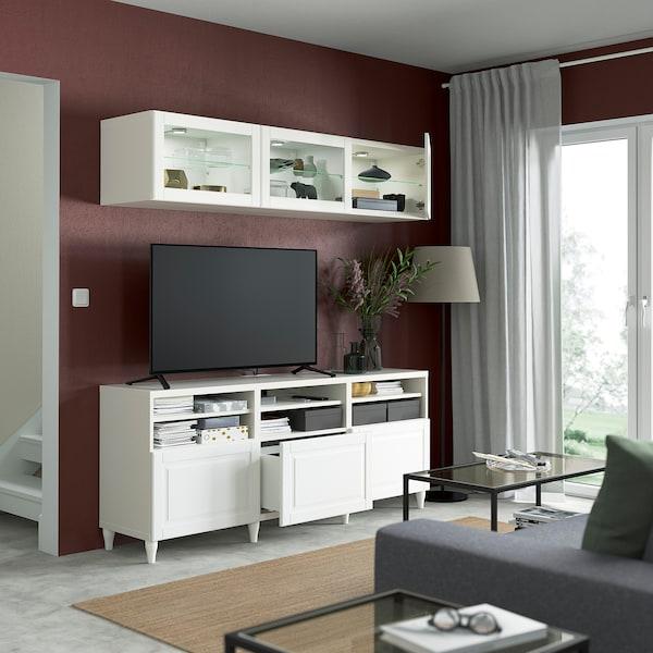 BESTÅ Rangement TV/vitrines, blanc/Smeviken/Kabbarp blanc verre transparent, 180x42x192 cm