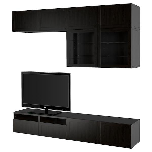 BESTÅ Rangement TV/vitrines, brun noir/Hanviken brun noir verre transparent, 240x42x231 cm