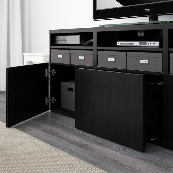 BESTÅ Rangement TV/vitrines, brun noir/Lappviken brun noir verre transparent, 180x42x192 cm