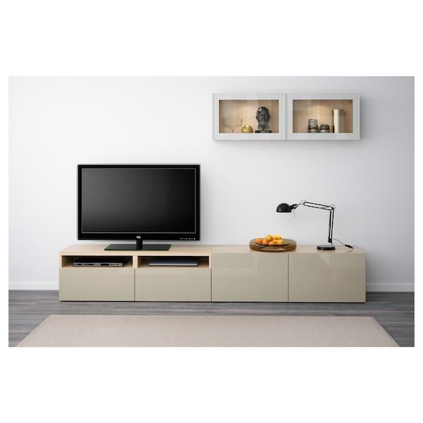 BESTÅ Rangement TV/vitrines, effet chêne blanchi/Selsviken brillant/beige verre transparent, 240x20/40x166 cm