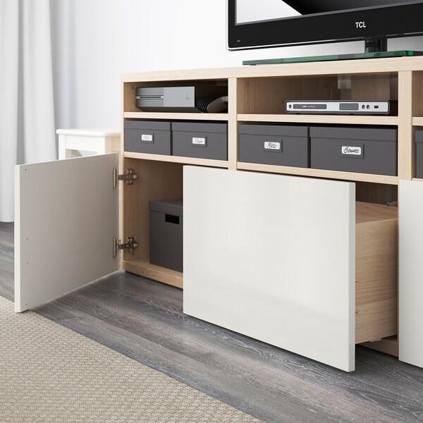BESTÅ Rangement TV/vitrines, effet chêne blanchi/Selsviken brillant/blanc verre givré, 180x40x192 cm