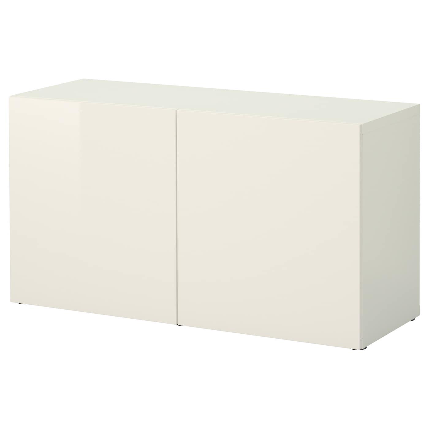 Meuble Ikea Besta Blanc bestÅ Étagère avec portes - blanc, selsviken brillant/blanc 120x40x64 cm