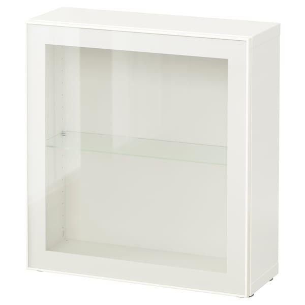 BESTÅ étagère avec porte vitrée blanc/Glassvik blanc/verre transparent 60 cm 20 cm 64 cm
