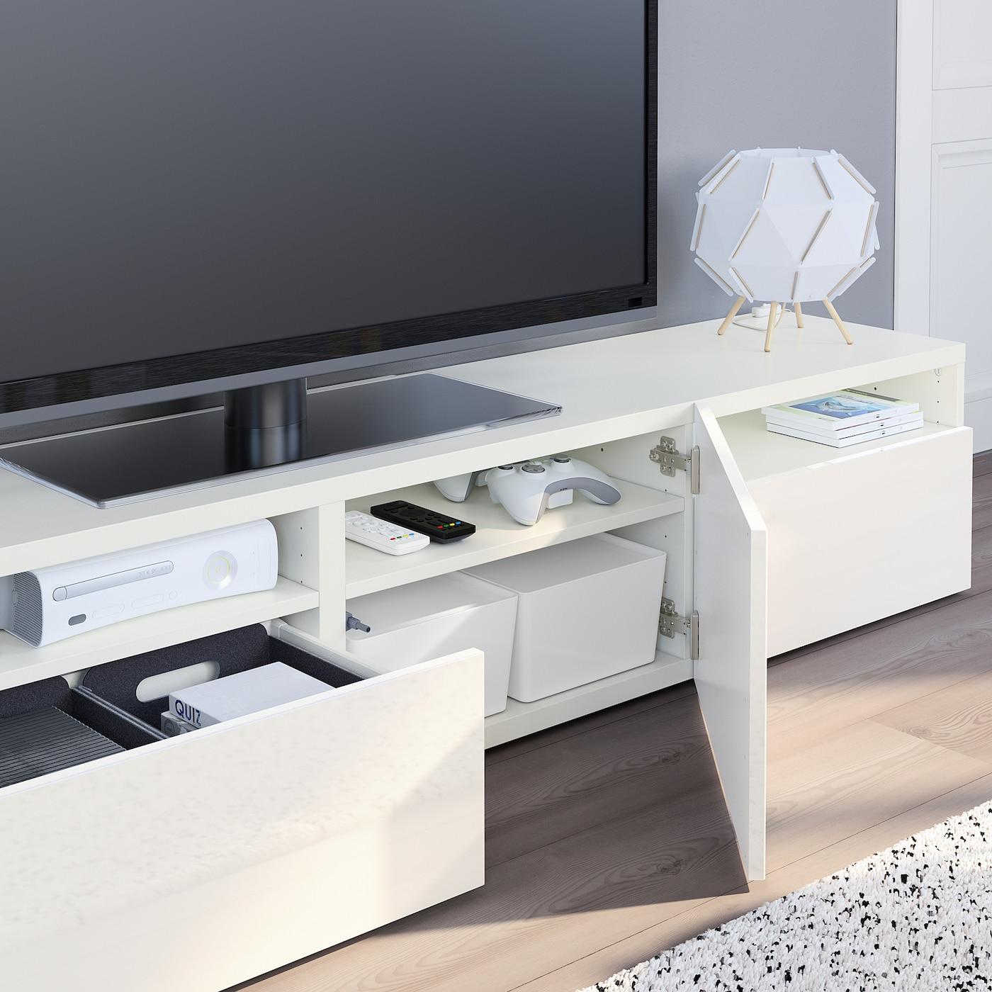 Tele Au Pied Du Lit bestÅ banc tv - blanc, selsviken brillant/blanc 180x40x38 cm