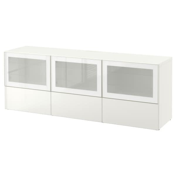 Banc Tv Avec Portes Et Tiroirs Besta Blanc Selsviken Brillant Blanc Verre Givre