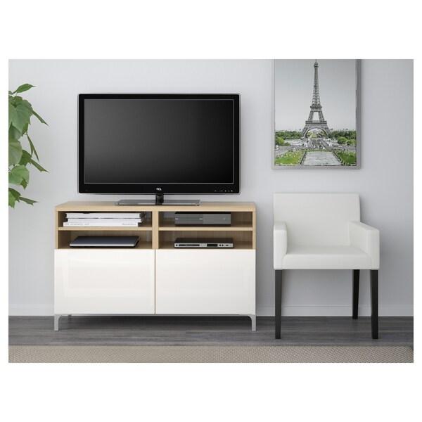 BESTÅ banc TV avec portes effet chêne blanchi/Selsviken/Nannarp brillant/blanc 120 cm 42 cm 74 cm 50 kg