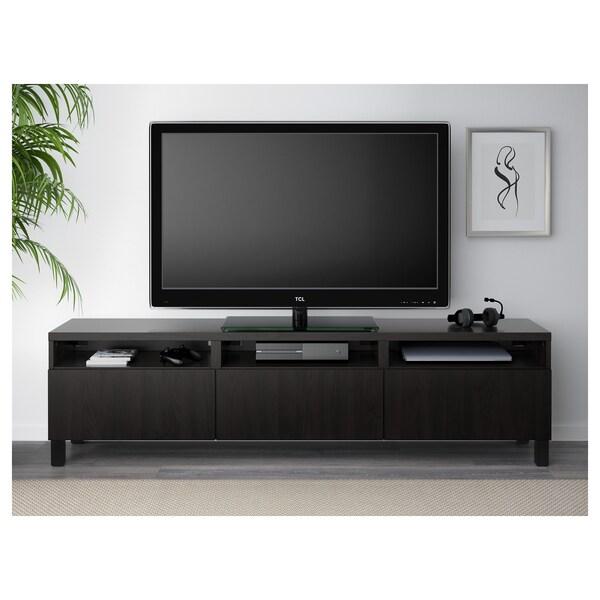best banc tv avec tiroirs lappviken brun noir ikea
