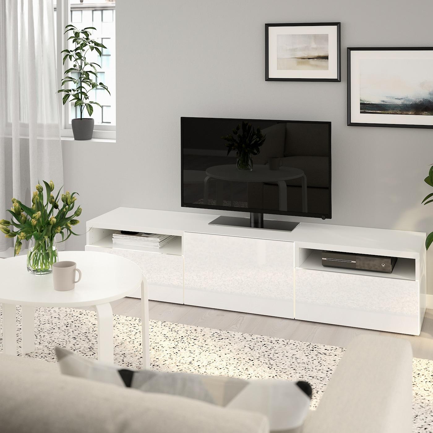 Meuble Tv Colonne Ikea bestÅ banc tv - blanc, selsviken brillant/blanc 180x40x38 cm