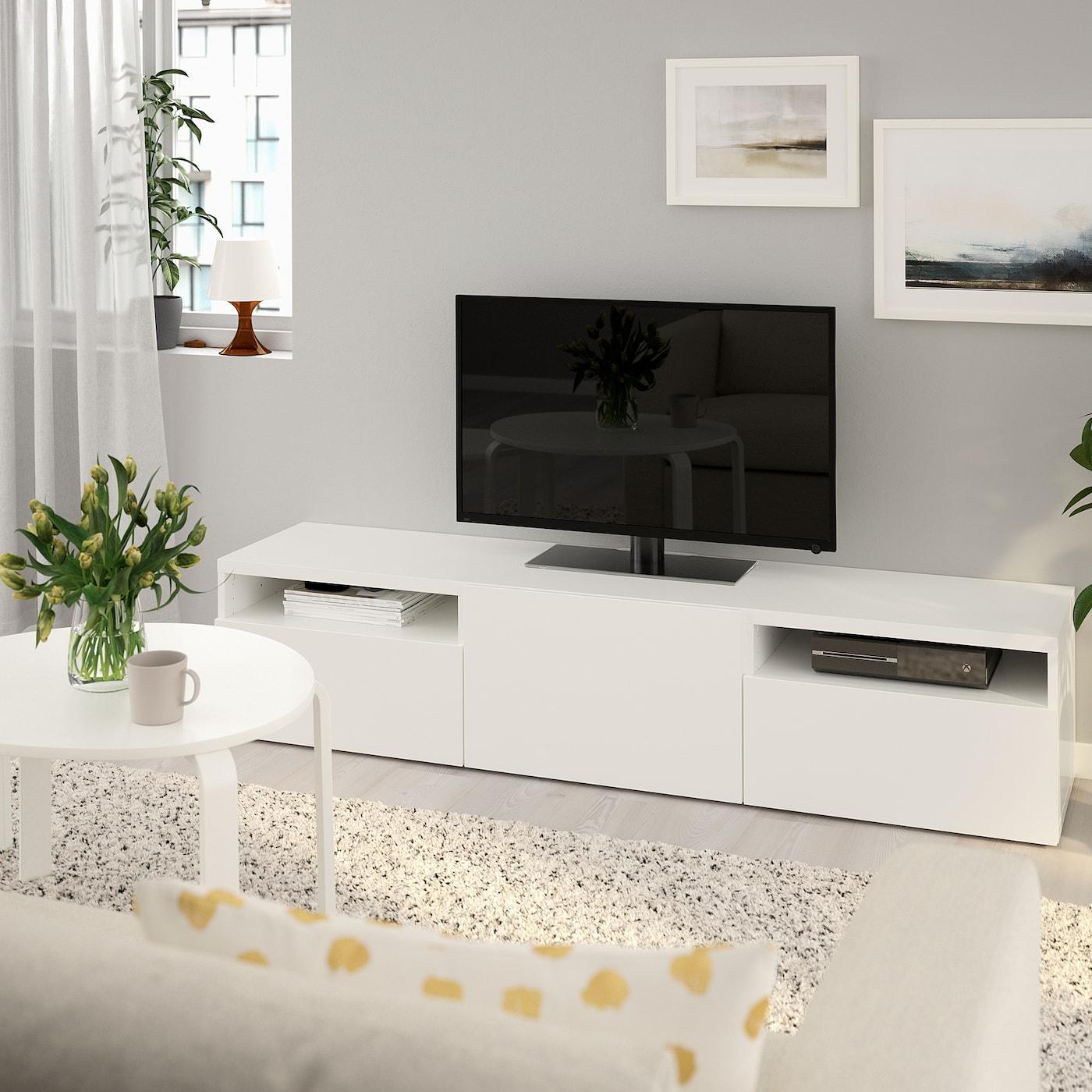 Meuble Ikea Besta Blanc bestÅ banc tv - lappviken blanc 180x42x39 cm