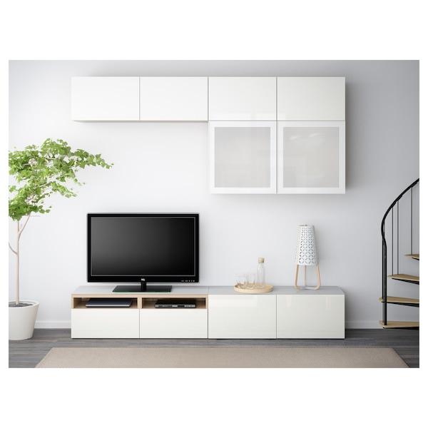 BESTÅ combinaison rangt TV/vitrines effet chêne blanchi/Selsviken brillant/blanc verre givré  240 cm 40 cm 230 cm 50 kg