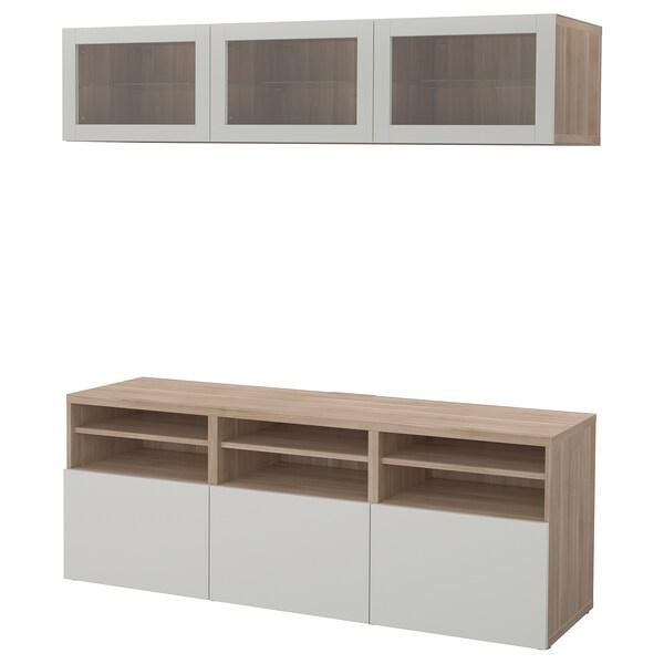 BESTÅ combinaison rangt TV/vitrines motif noyer teinté gris Lappviken/gris clair verre transparent 180 cm 40 cm 192 cm