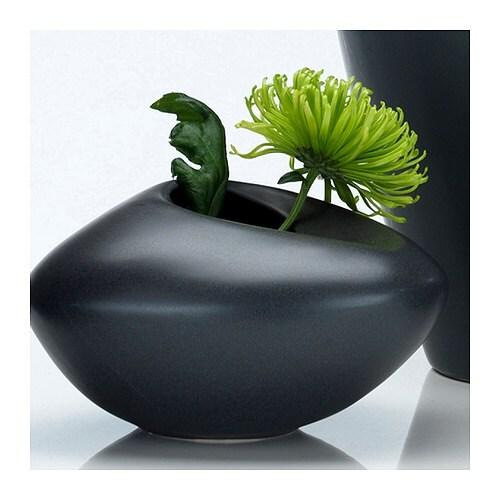 BIGARRÅ Vase, noir Diamètre: 20 cm Hauteur: 12 cm