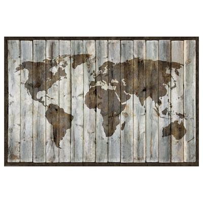 BILD Image, Planisphère, toile eff bois flotté, 91x61 cm