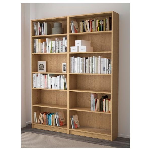 BILLY Bibliothèque, plaqué chêne, 160x28x202 cm