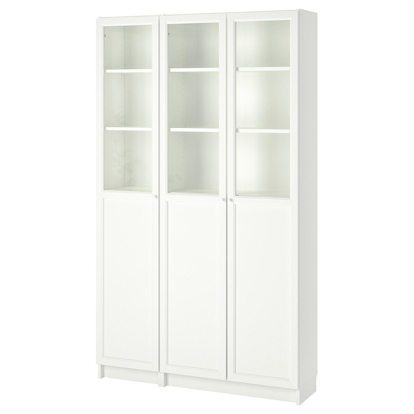 Billy Oxberg Bibliotheque Avec Panneau Vitrines Blanc Verre 120x30x202 Cm Ikea