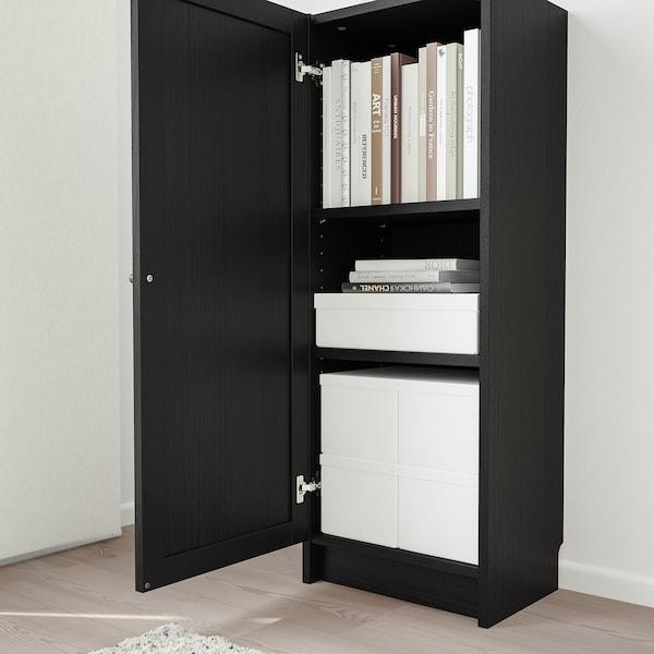 BILLY / OXBERG Bibliothèque avec porte, brun noir, 40x30x106 cm
