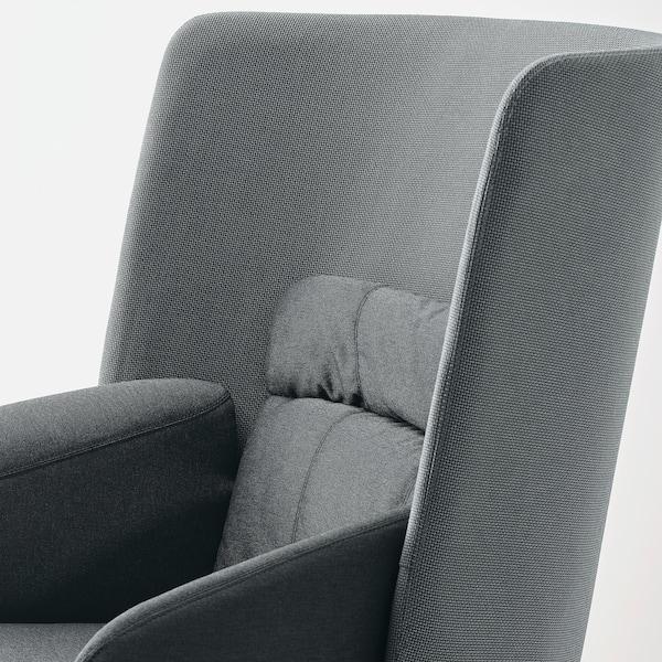 BINGSTA Fauteuil haut, Vissle gris foncé/Kabusa gris foncé