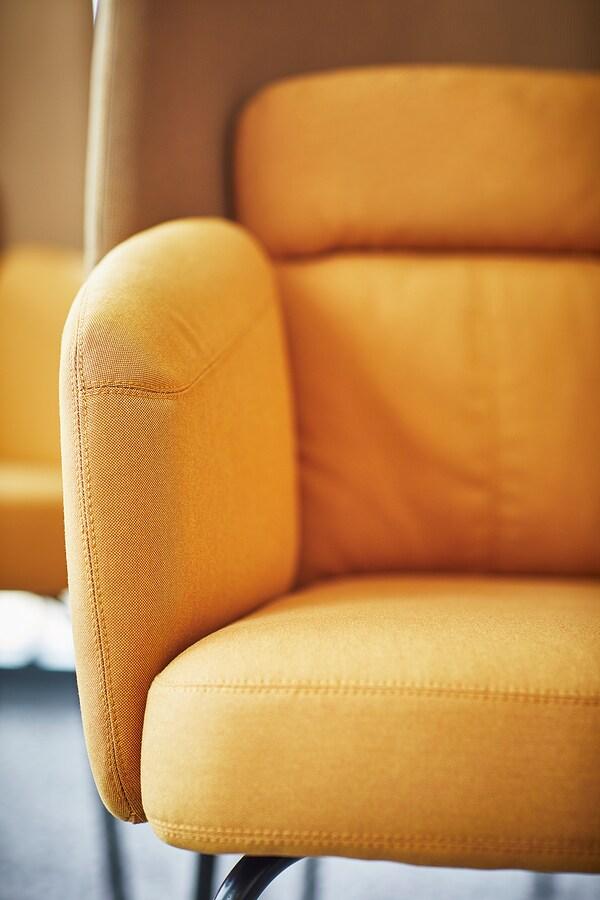 BINGSTA fauteuil haut Vissle jaune foncé/Kabusa jaune foncé 70 cm 58 cm 101 cm 45 cm