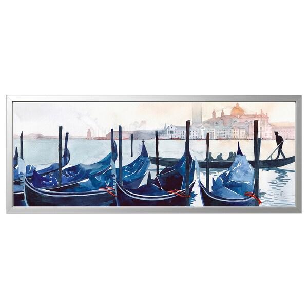 Image avec cadre BJÖRKSTA Un matin à Venise, couleur aluminium
