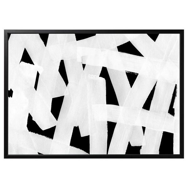 BJÖRKSTA image avec cadre Coup de pinceau/noir 140 cm 100 cm