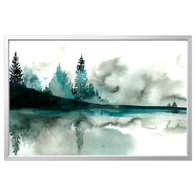 BJÖRKSTA image avec cadre Aquarelle/couleur aluminium 78 cm 118 cm