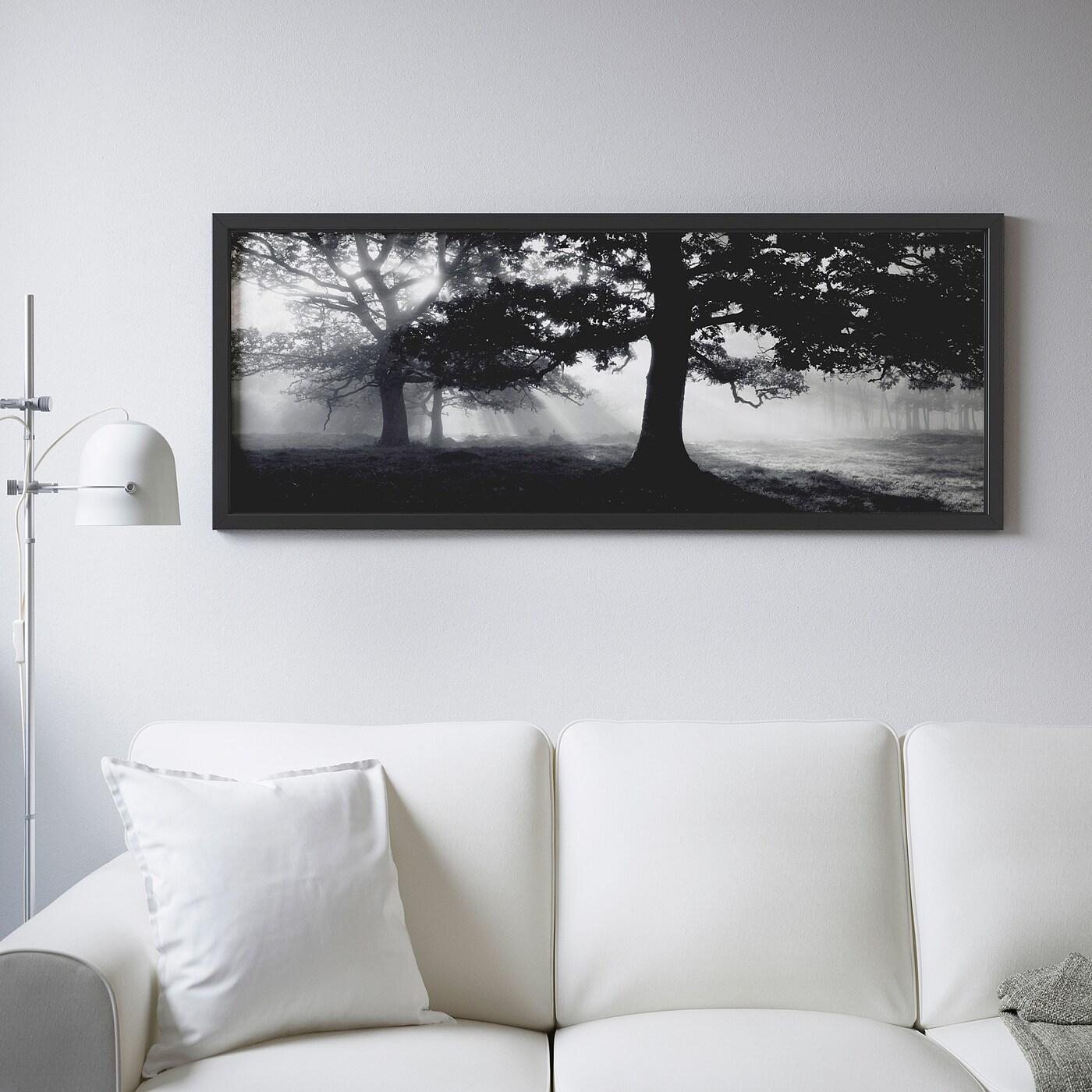 Art Plus Cadre Vitrolles bjÖrksta image avec cadre - rêverie en sous-bois ii, noir 140x56 cm