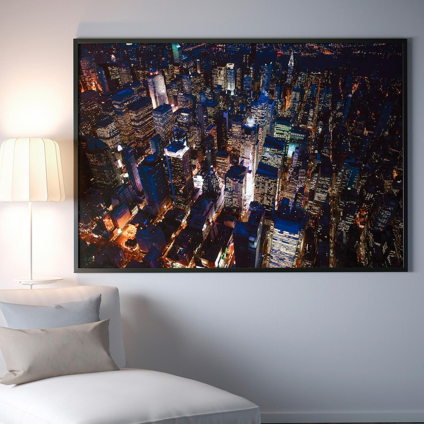 Cadre Photo Sur Pied Ikea bjÖrksta image avec cadre - les lumières de la ville, new york, noir  200x140 cm