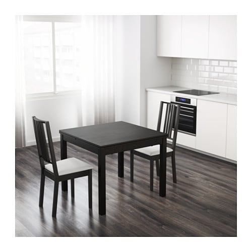Bjursta table extensible brun noir ikea for Table a manger ikea