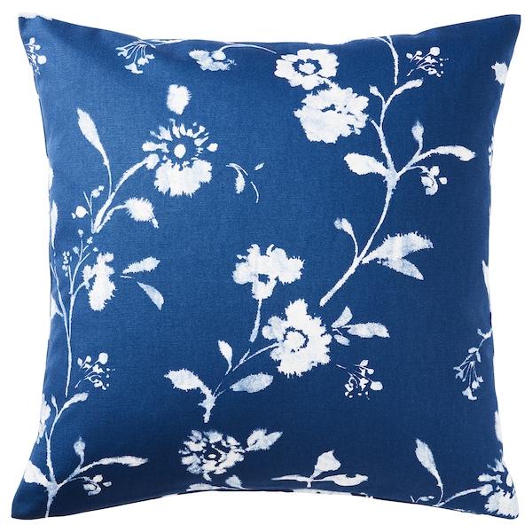 BLÅGRAN Housse de coussin, bleu/blanc, 50x50 cm