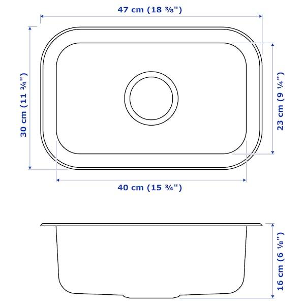 BOHOLMEN Évier intégré, 1 bac, acier inoxydable, 47x30 cm