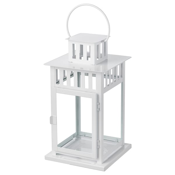BORRBY Lanterne pour bougie bloc, intérieur/extérieur blanc, 28 cm