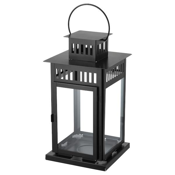 BORRBY Lanterne pour bougie bloc, intérieur/extérieur noir, 44 cm